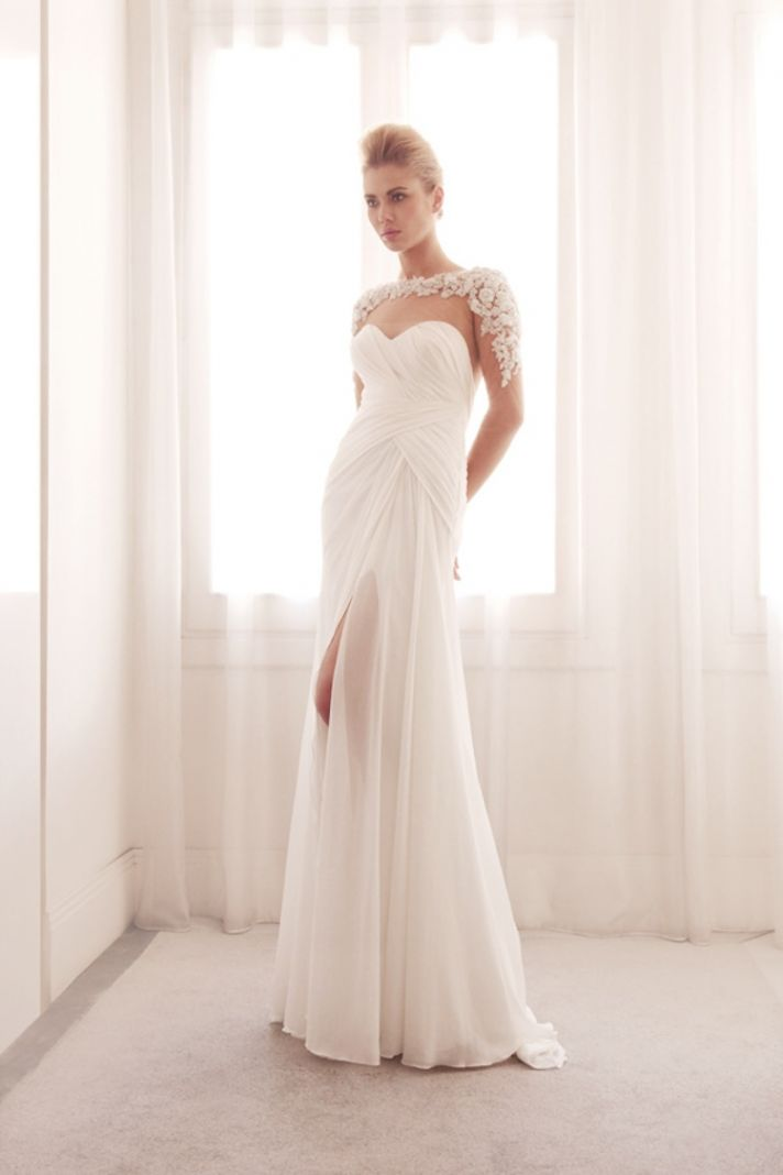 Illusion wrap wedding gown by Gemy Bridal