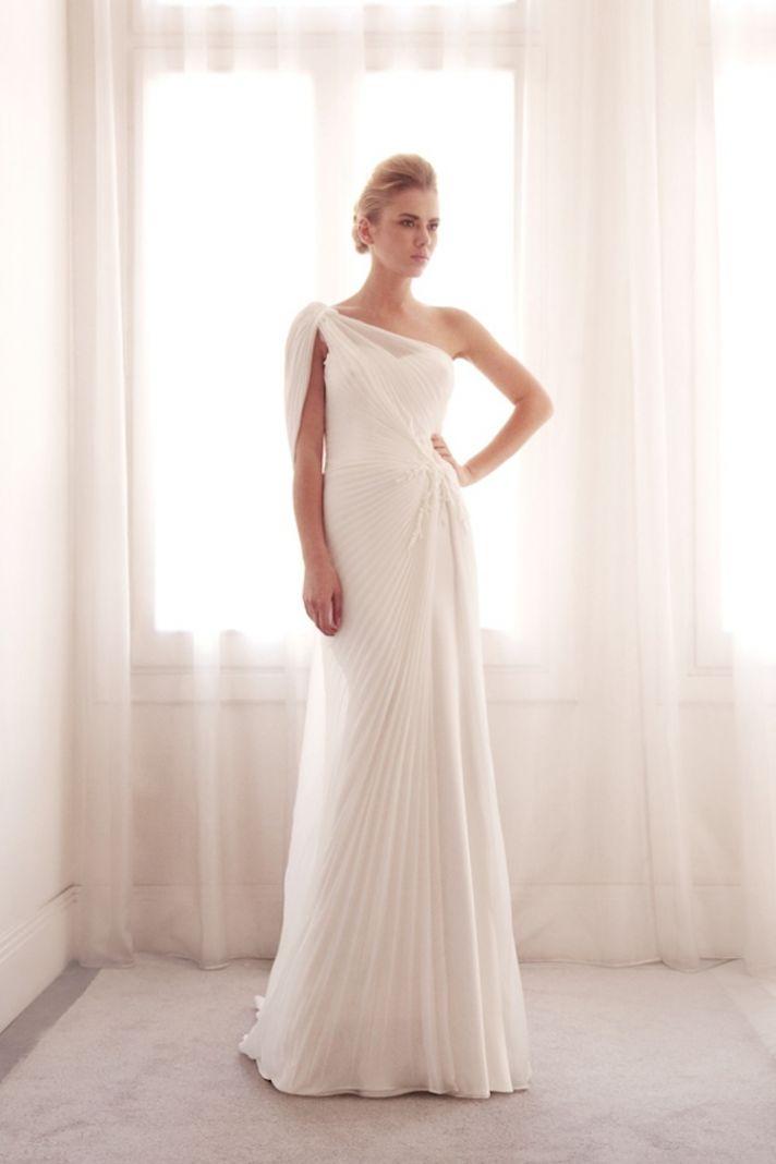 Pleated wedding gown by Gemy Bridal