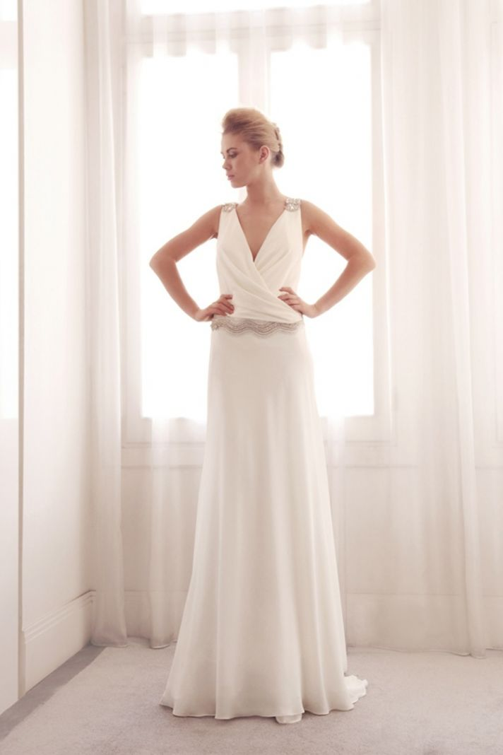 V neck sheath wedding gown by Gemy Bridal
