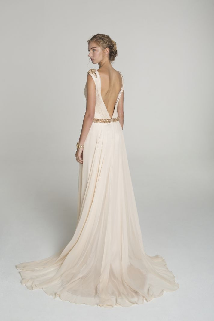 Modern sophistication from alana aoun onewed for Blush and gold wedding dress