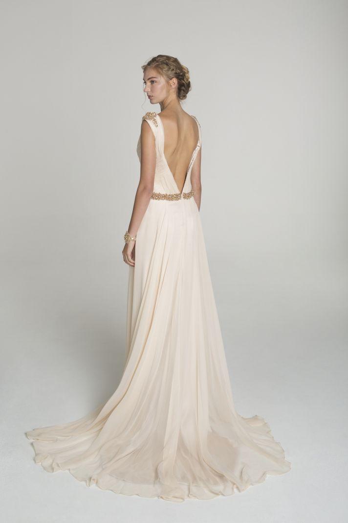 Blush and gold wedding dress from Alana Aoun