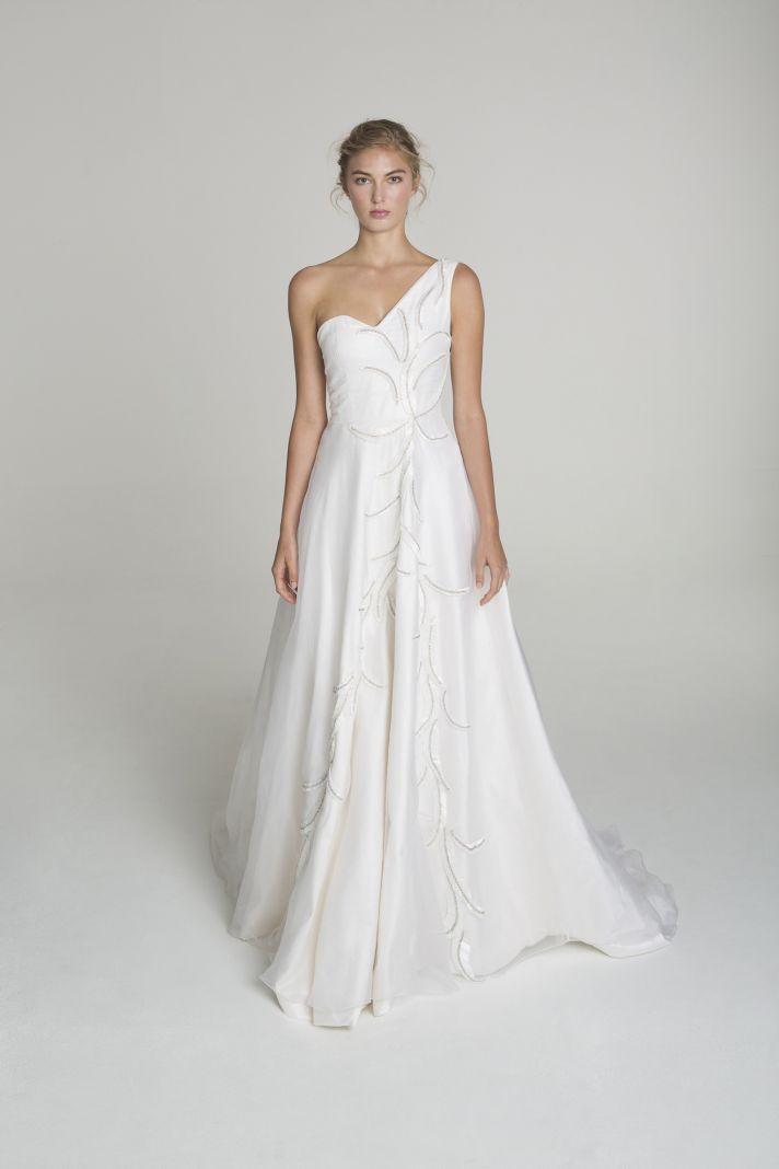 One shoulder wedding dress from Alana Aoun