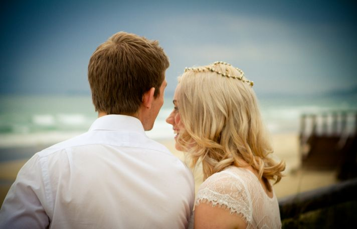 Bride and groom at a beach real wedding