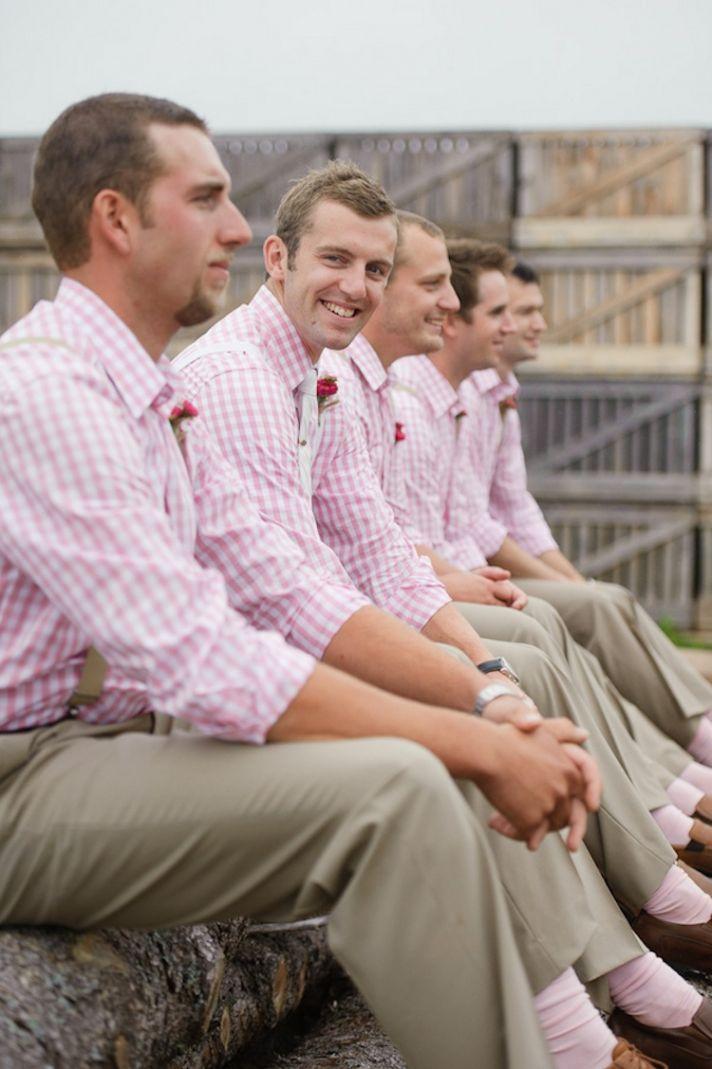 Groomsmen in pink