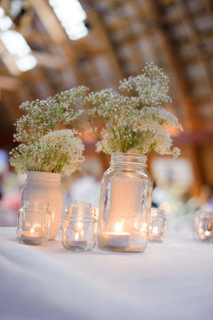 Rusic babys breath centerpieces