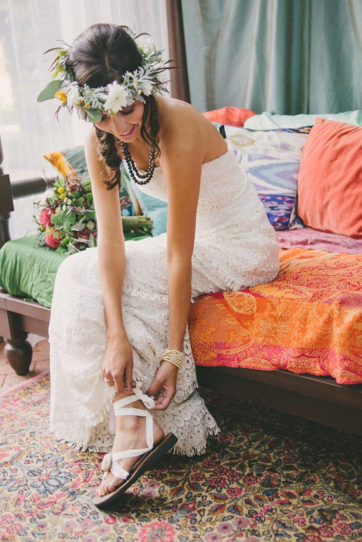 Boho bride sandals