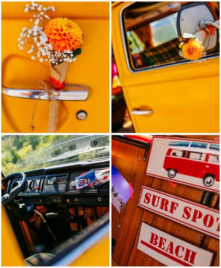 Bright yellow VW van accents