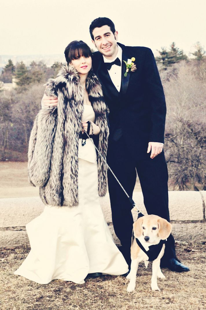 Vintage wedding couple with dog