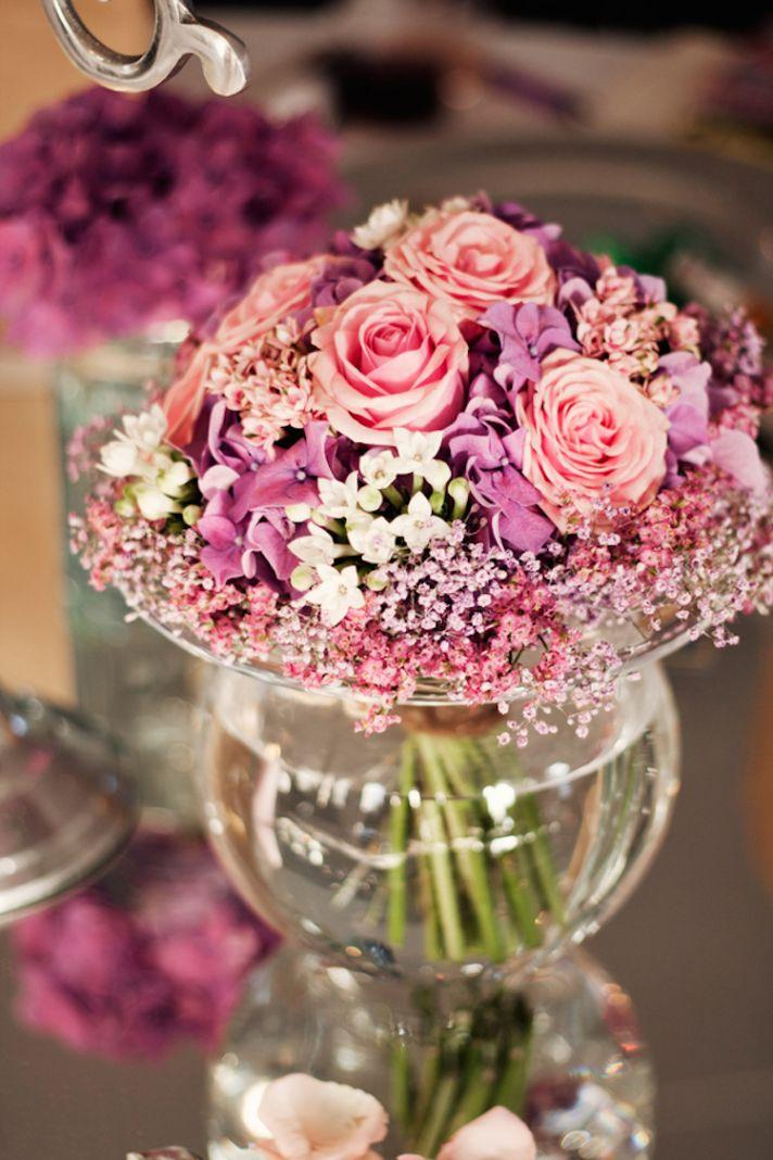 Pink reception centerpieces