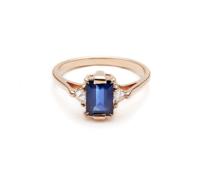 Emerald cut engagement ring in rose gold