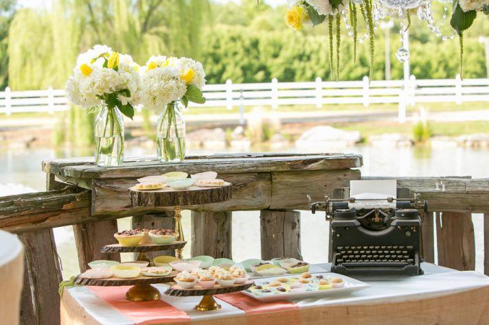 Dessert display with typewriter