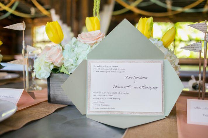 Pastel green wedding invitations