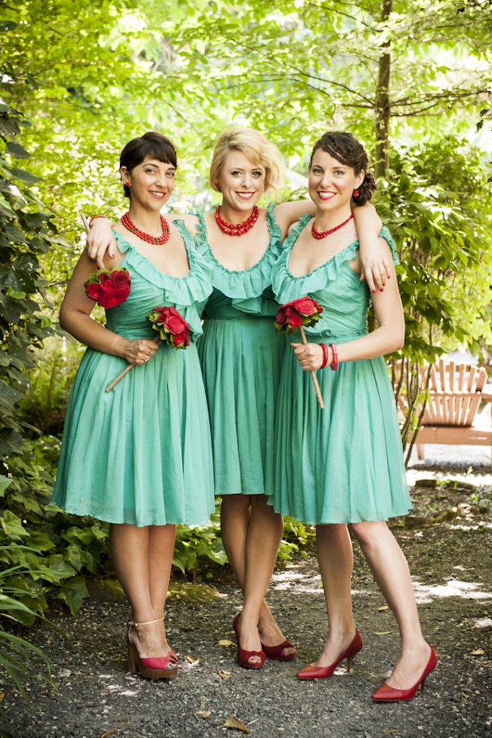 Teal and red bridesmaids style