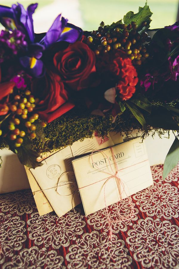 Postcard themed wedding stationery