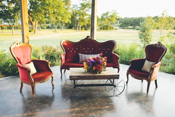 Vintage outdoor reception area