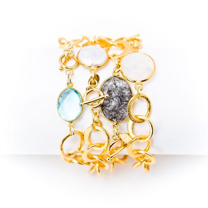 Gem and gold link bracelets