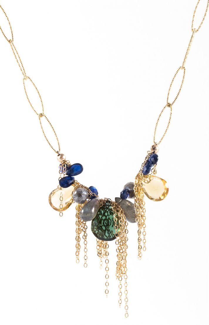 Unique mismatch gold necklace