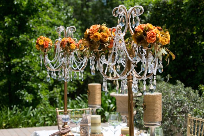 Floral chandeliers for a winery wedding