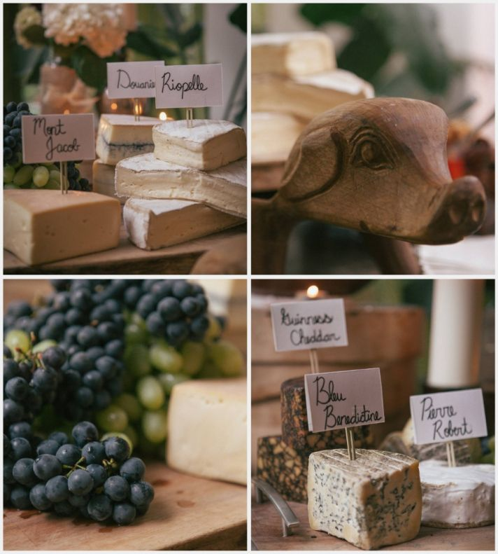 Cheese display at an urban real wedding