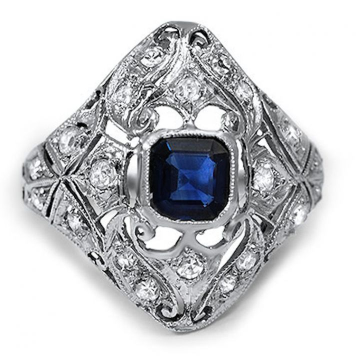 Emerald Cut Sapphire Surrounded by Diamonds