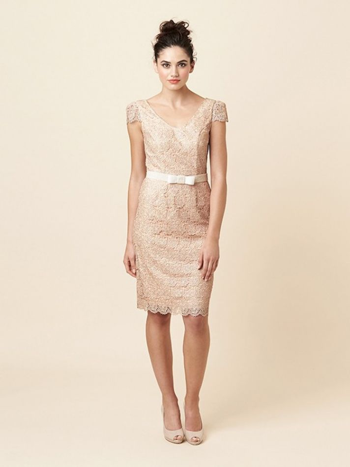 Short Champagne and Lacy Bridesmaid Dress