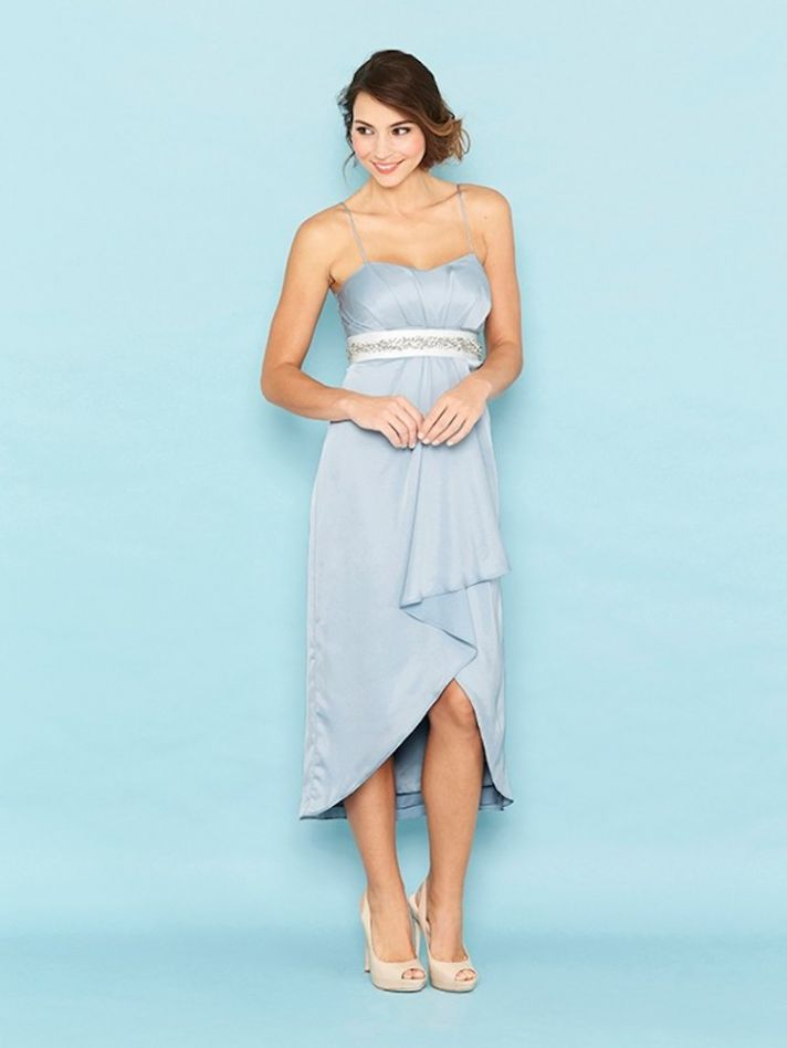 Light Blue High Low Bridesmaid Dress with Belt