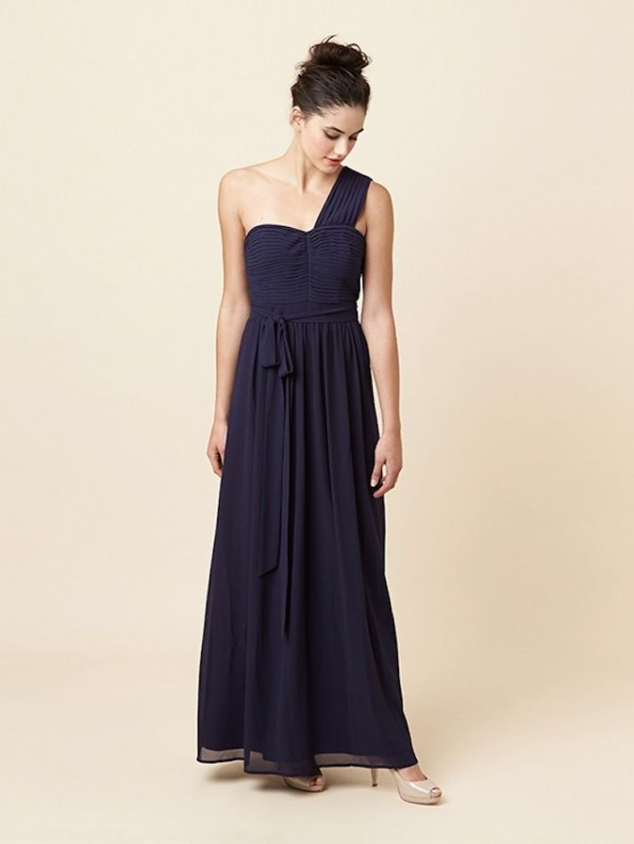 Draping Roman Inspired Bridesmaid Dress in Navy