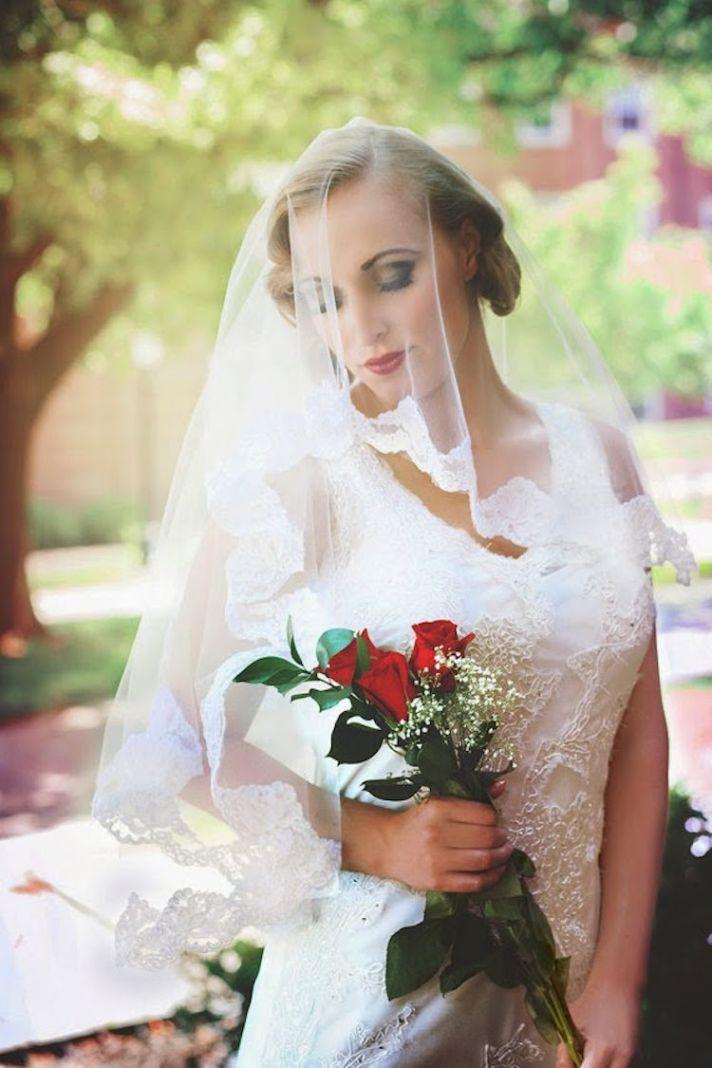 Lace Trimmed Romantic Veil