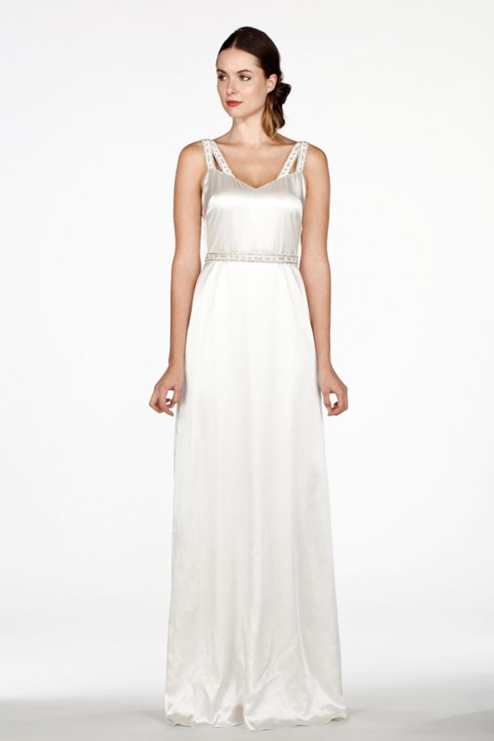 Elegant Satin Dress with Beaded Straps
