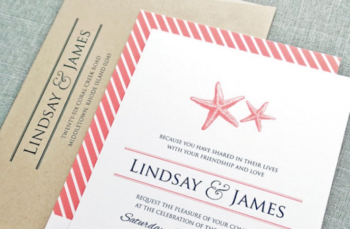 Coral Starfish Invitations