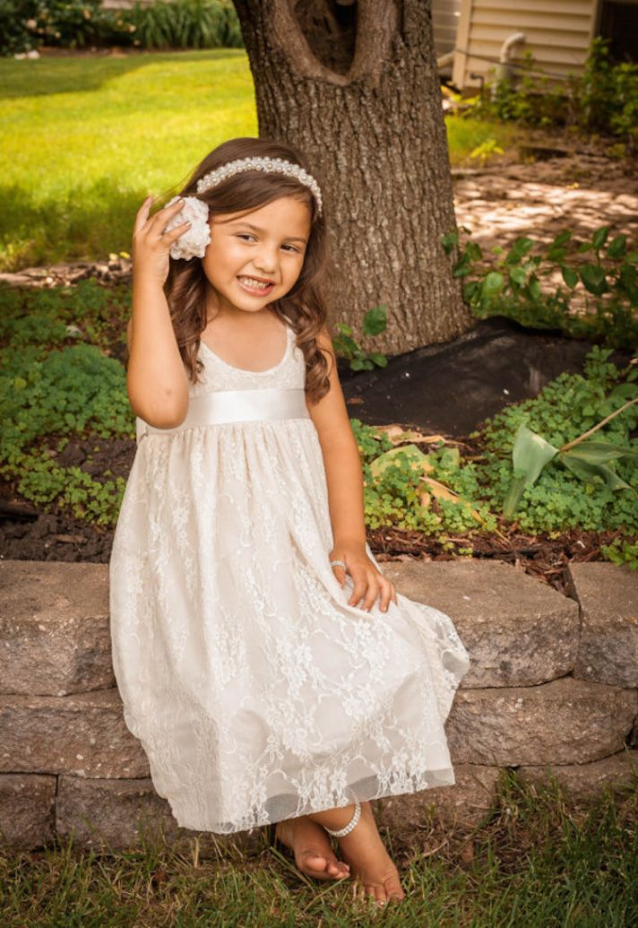 Lace Flower Girl Dress with Ribbon Detail