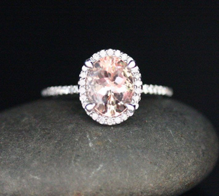 White Gold Morganite Oval and Diamonds Engagement Ring