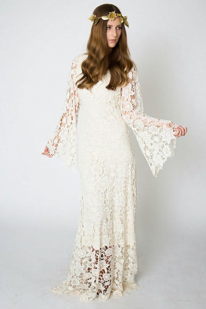 Bohemian Crocheted Lace Wedding Dress