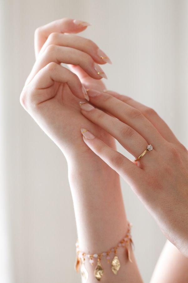 Gold Leaf Nails and Leaf Shaped Bracelet