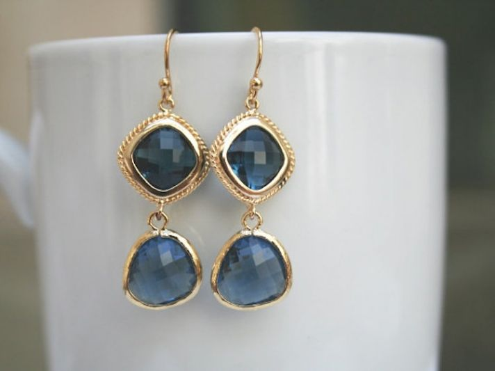 Two Stoned Sapphire Bridal Earrings