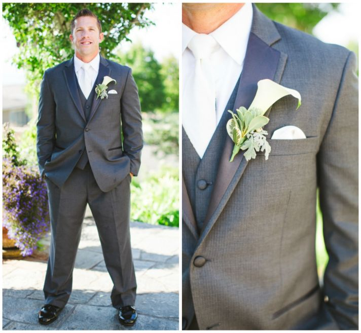 Groom in Grey Suit with a White Lily Boutonniere