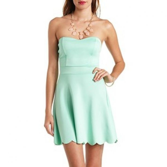 Short Mint Bridesmaid Dress with a Scalloped Hem