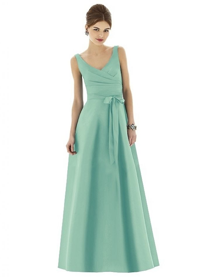 Long Mint Bridesmaid Dress with Belted Bow