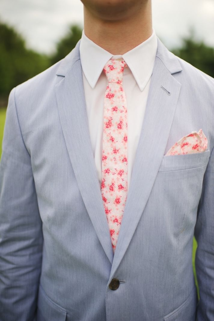 Southern Groom Style with a Pink Flowered Tie