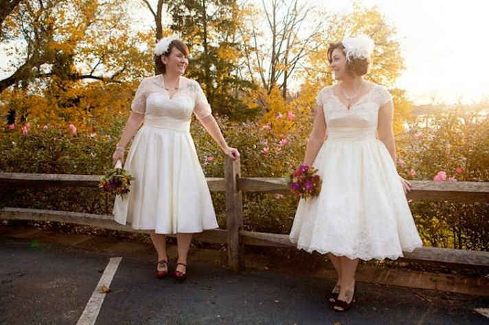 Tea Length Wedding Dresses with Fun Head Accessories