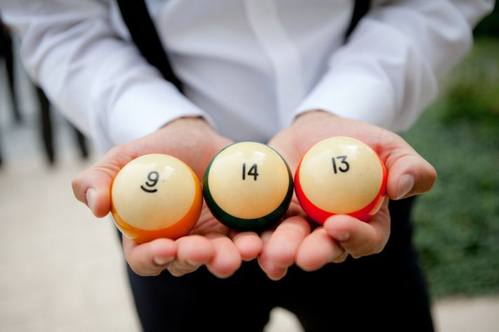 Wedding Date in Pool Balls