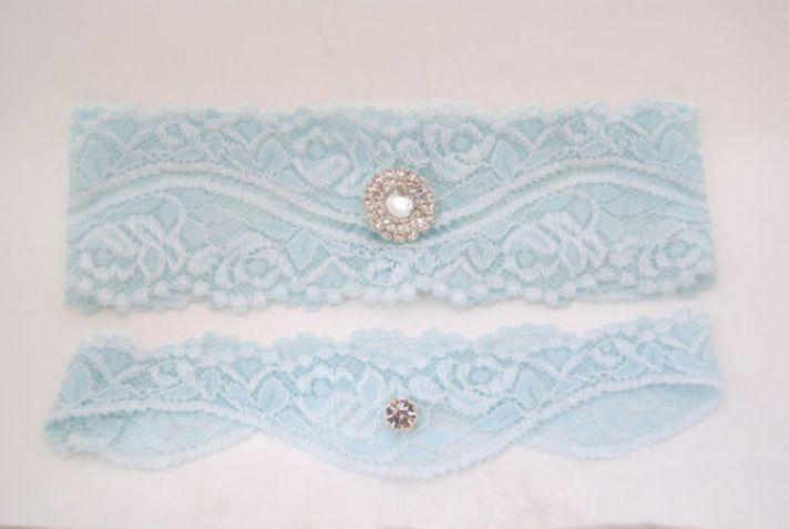 Something Blue Lace Garter with Rhinestone