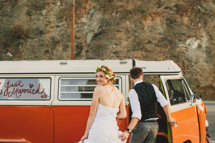 Just Married Photo With VW Van